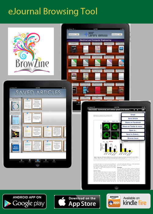 Browzine tablet screenshots showing the app