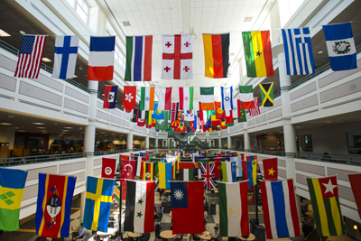 Flags from many countries at Johnson Center