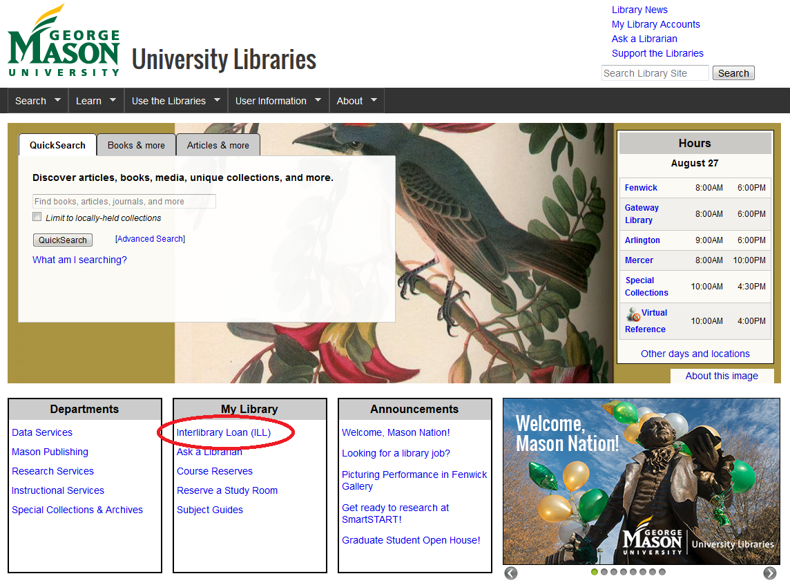 Borrow, Renew &  Interlibrary Loan page with 'Interlibrary Loan(ILL)' highlighted