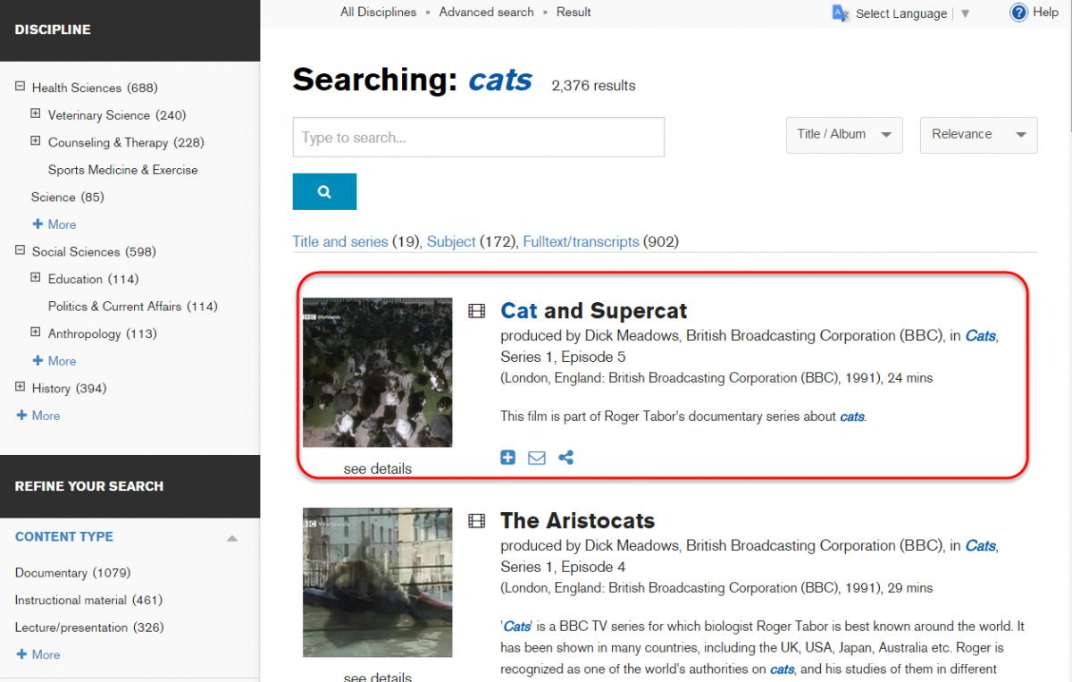 Lists titles found in the search. Includes a menu to help narrow search results, on the left.