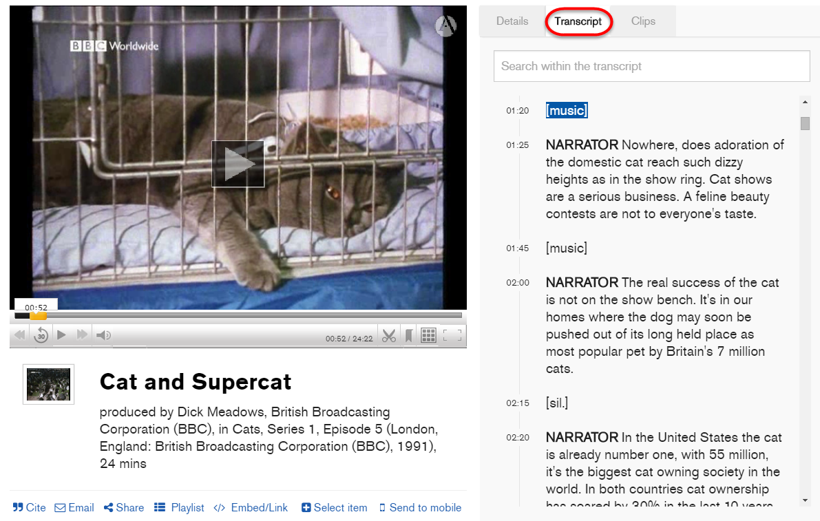Still shot of a video of a cat. Below the video player is a tool bar that inlcudes a Share function and Add to playlist. To the right of the video screen are three navigation tabs, including the middle one that leads to the Transcript.