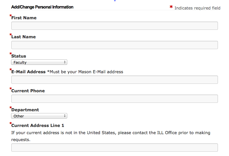 Add/Change personal information form