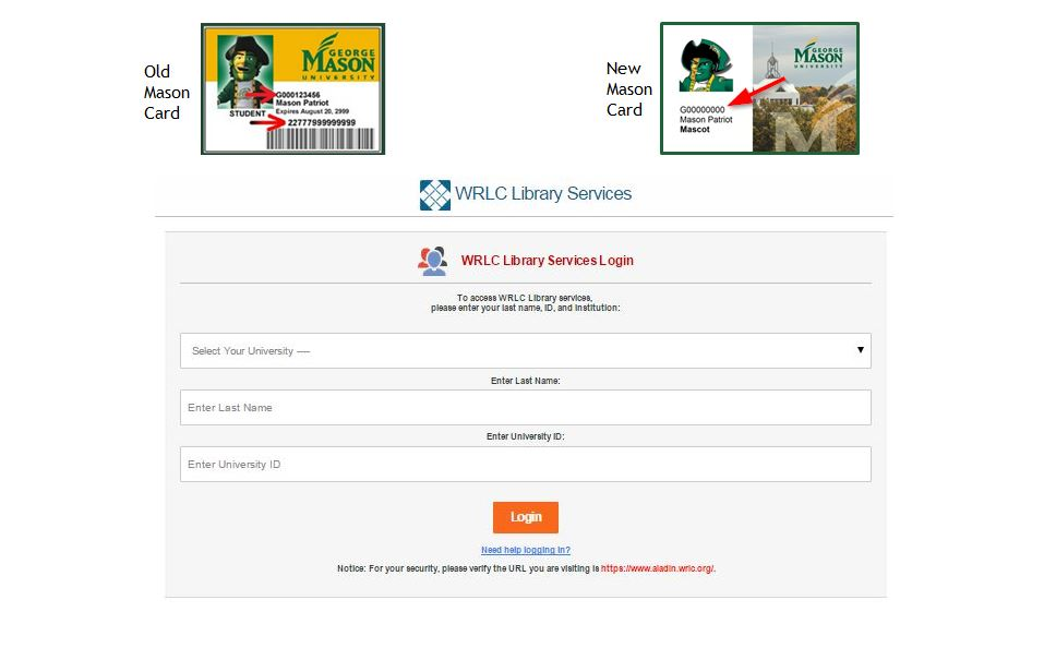 WRLC Login page with images of the two types of Mason ID cards