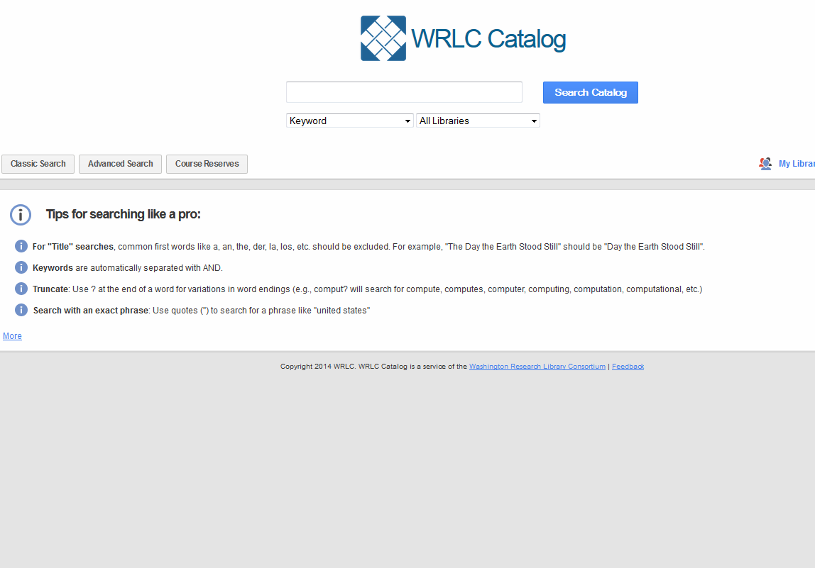 WRLC Catalog search page