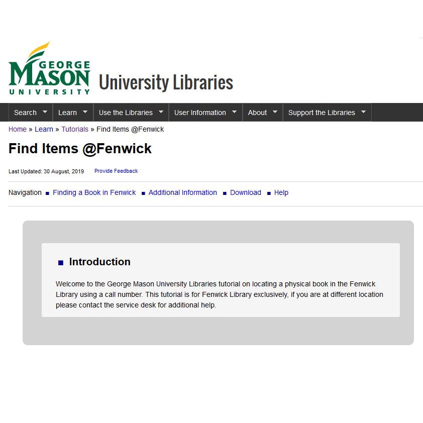 Screenshot of Find Items @Fenwick Tutorial